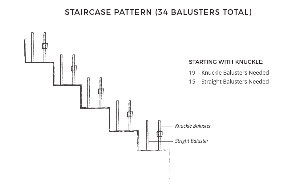 Iron baluster staircase pattern
