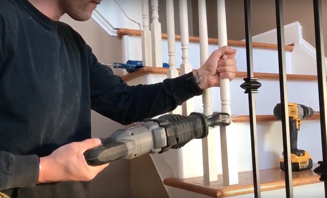 Cut and remove old balusters