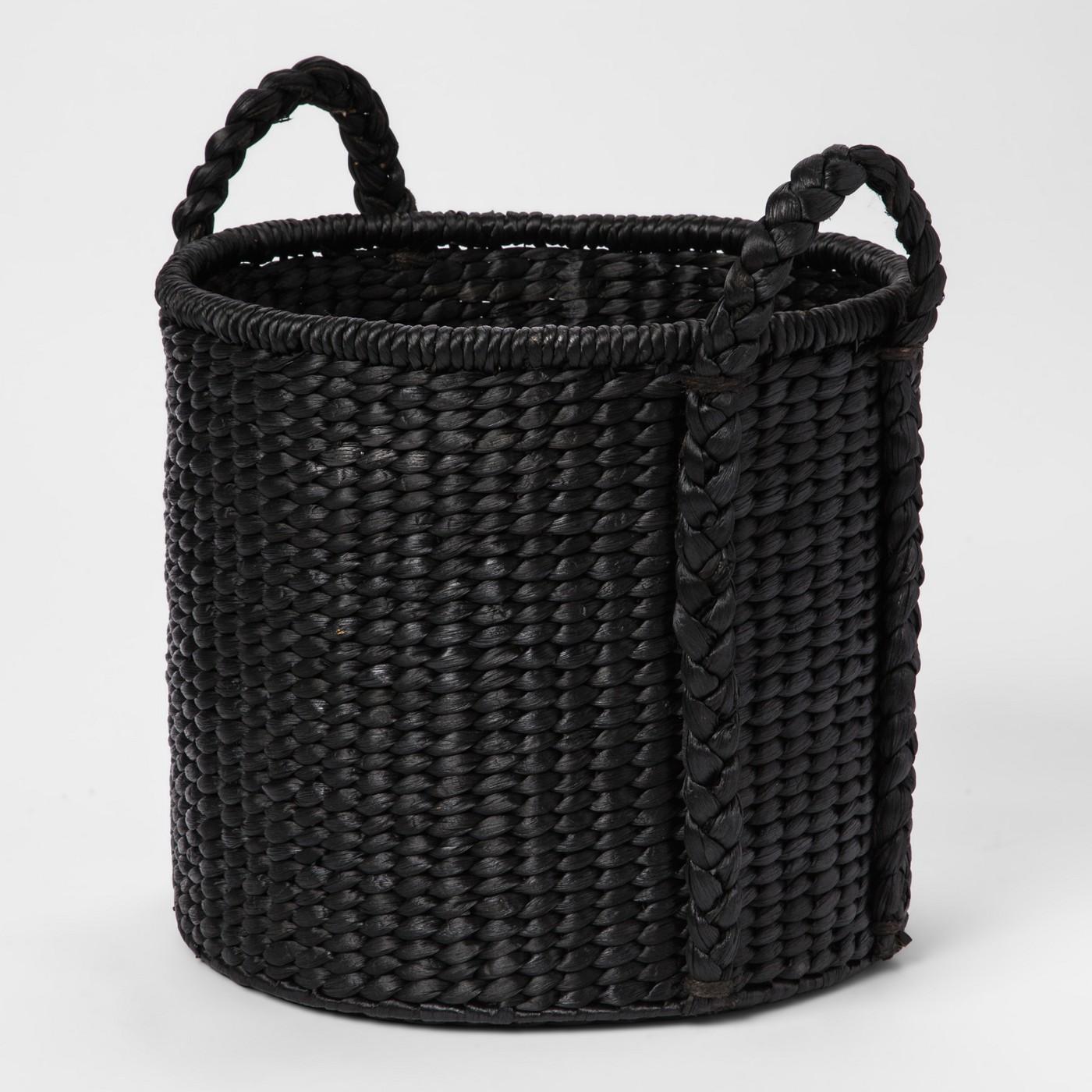 Round Woven Basket - Black