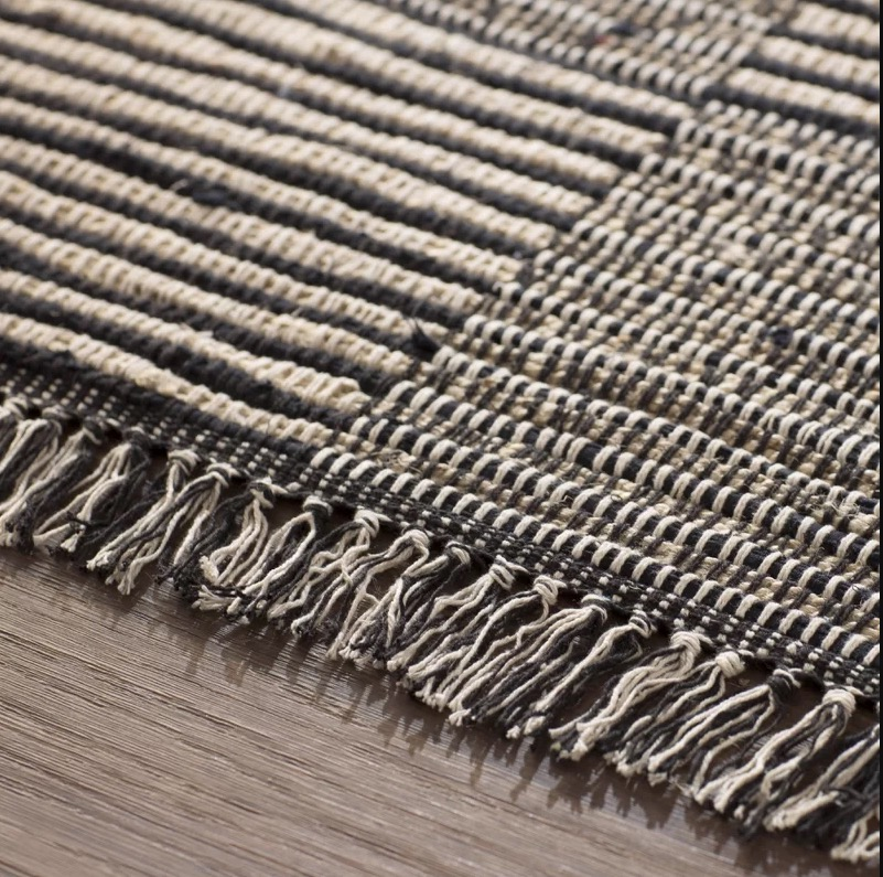 Synthia Hand-Loomed Black Area Rug