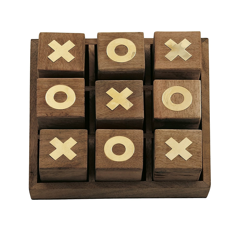 Wood Brass Tic Tac Toe