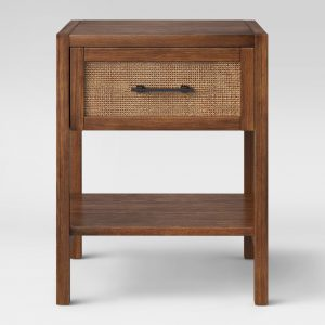 Wood & Rattan Accent Table
