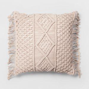 Macrame Cream Pillow