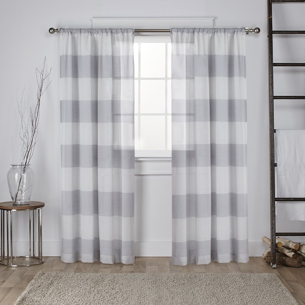 Striped Linene Curtain Dove Gray