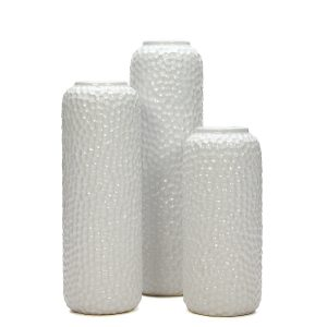 White Ceramic Honeycomb Vases