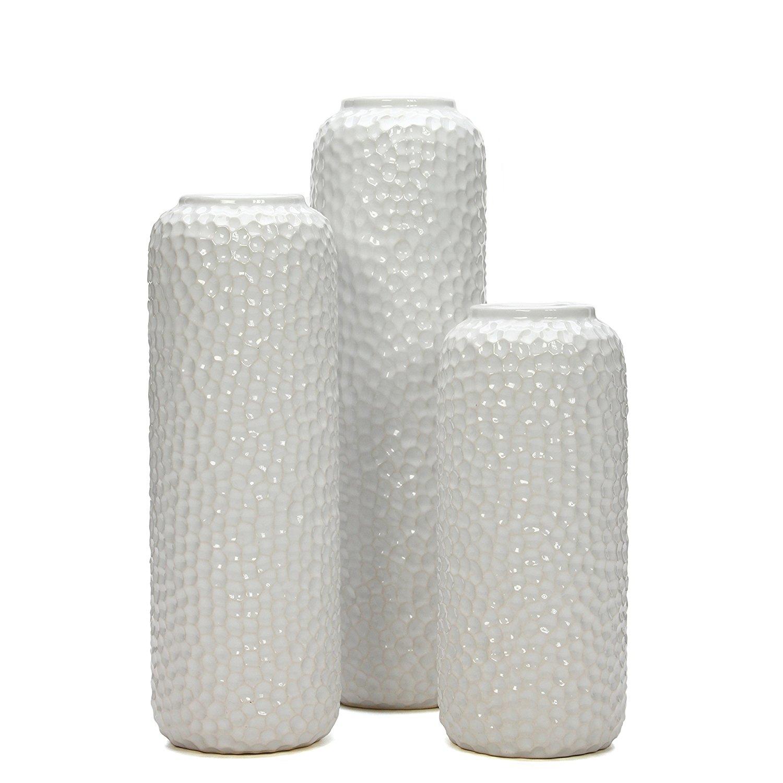 White Ceramic Honeycomb Vases