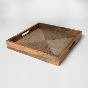 Wood and Jute Rope Tray