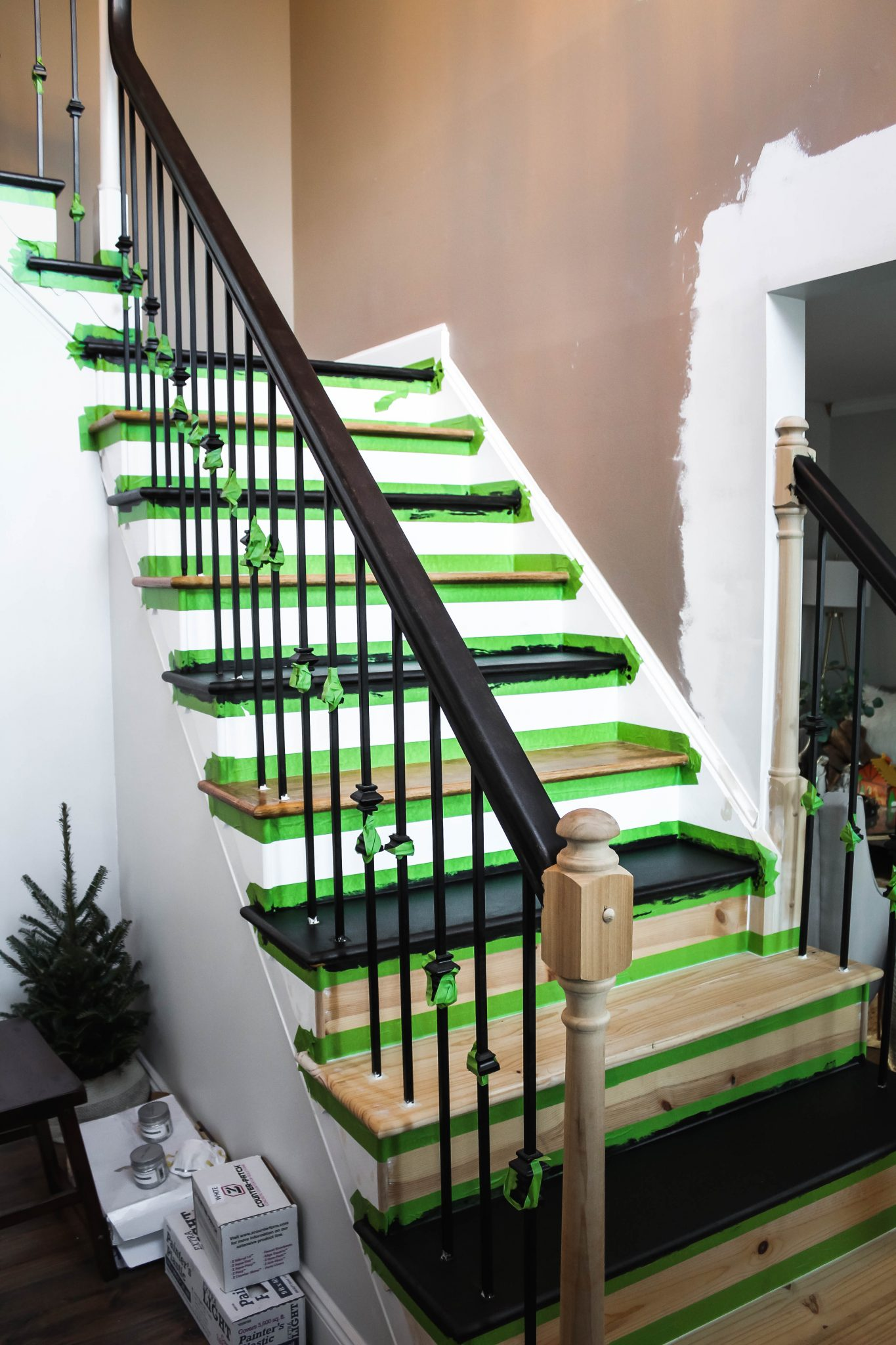 Taping Off Oak Staircase