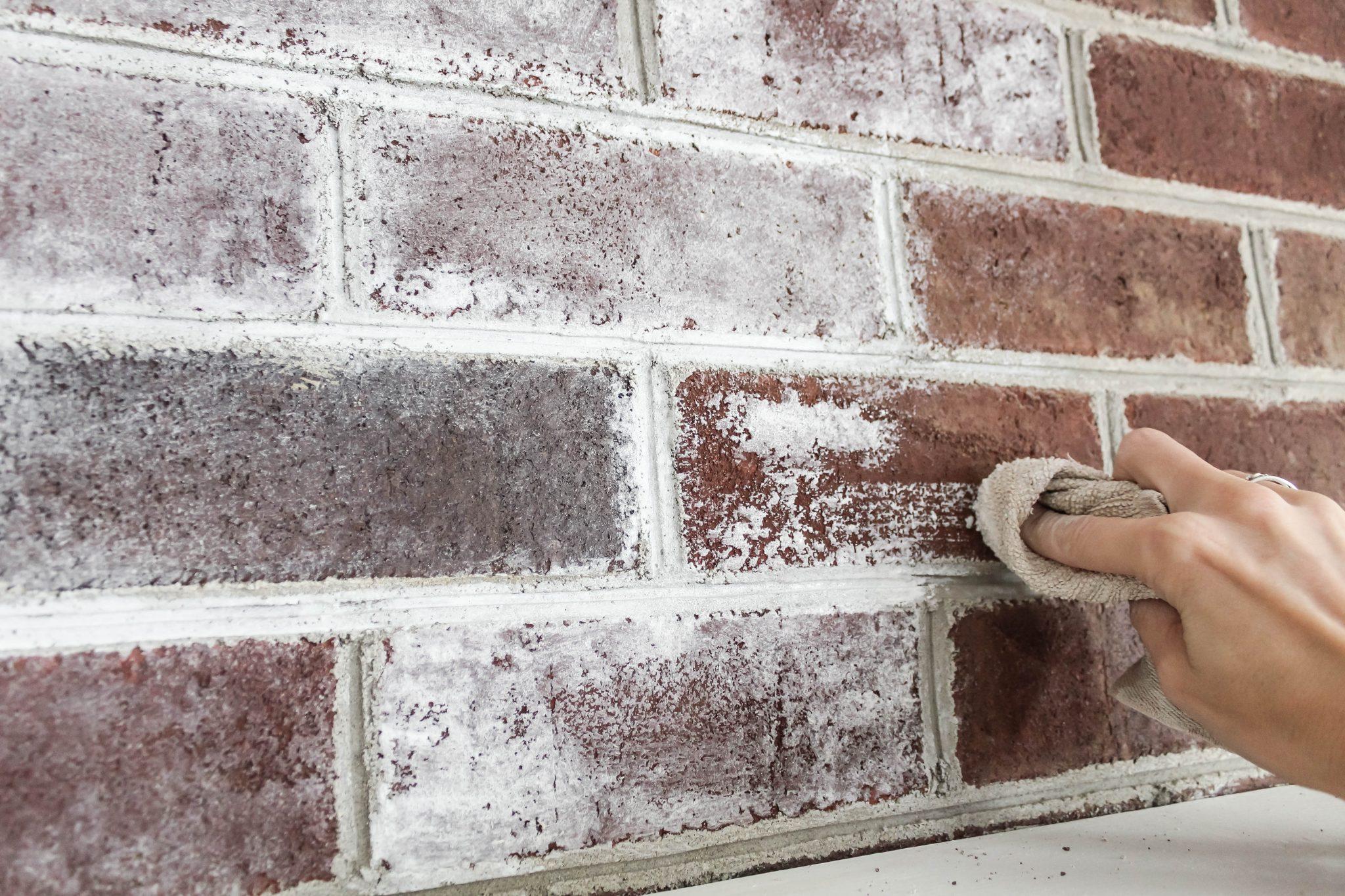 Method: Whitewashing fireplace bricks