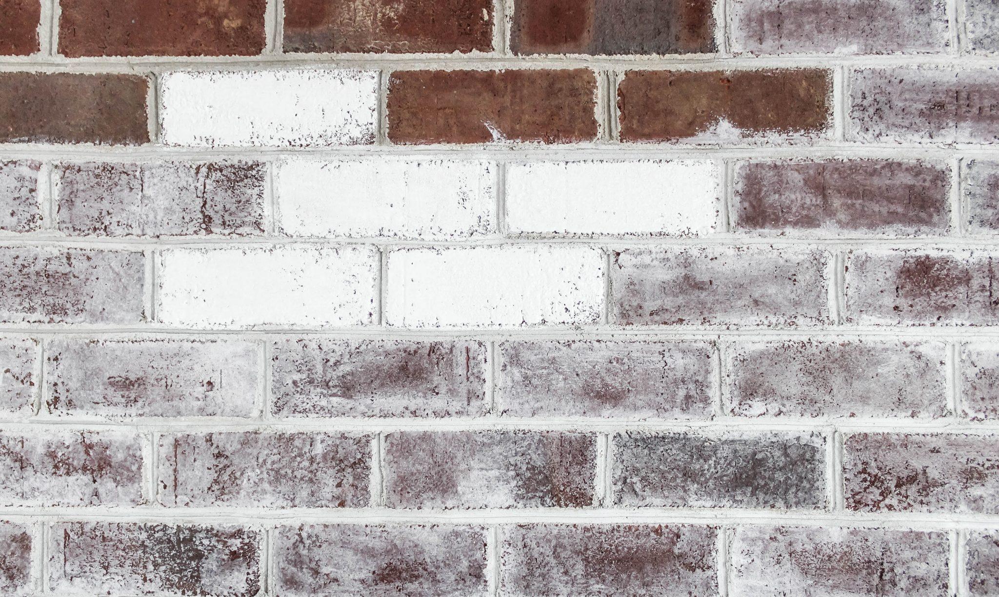 Progress: Rough painted bricks vs. whitewashed bricks