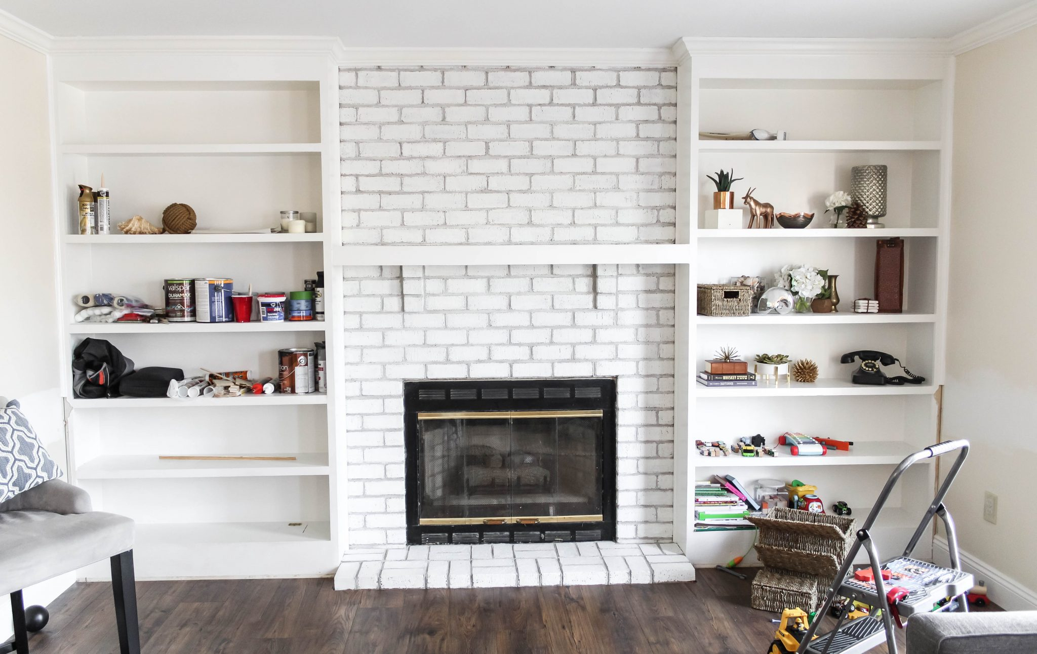 After: Rough Painted Brick Fireplace