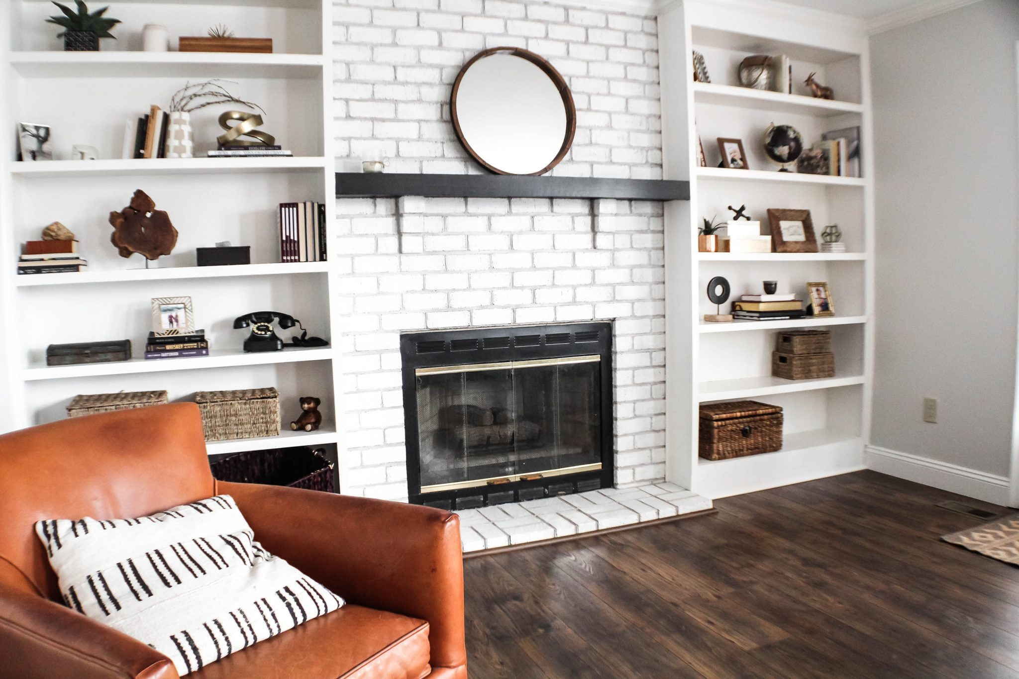 After: Rough Painting red fireplace brick to white