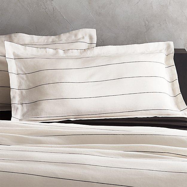 linen pinstripe pillow sham